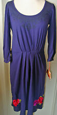 JWLA-Johnny Was Purple Embroidered Dress Floral Design- 3/4 sleeves NWT Size S,L