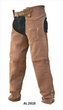 Unisex Soft Brown Buffalo Leather Lined Motorcycle Chaps