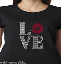 """Women's Bling Rhinestone LOVE with """"O"""" as a Kiss (Lips) T-Shirt or Hoodie"""