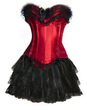 Red Corset+Black Mini Skirt Lolita Burlesque Moulin Rouge Costume Saloon Frill