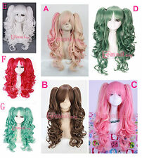 Women Gilrs Wig long Anime Lolita Curly Wave clip on ponytail Hair Cosplay Wigs