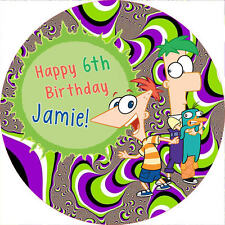 """Phineas and Ferb 7.5"""" ROUND Cake Topper Rice Paper/Icing 24HR POST!"""