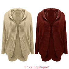 NEW LADIES COCOON KNITTED WOMENS OVERSIZED BATWING CARDIGAN JUMPER SIZE 8-14