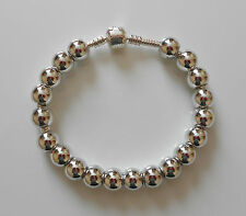 10 OR 20 SILVER ROUND SMOOTH ACRYLIC CHARM BEADS/SPACERS FIT EUROPEAN BRACELET