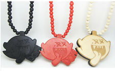 Hip-Hop Fashion Good Dope Face shape Pendant Wood Ball Bead Chain Necklace