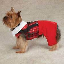 YULETIDE TARTAN DOG JUMPER Christmas Holiday Pet Jumpsuit Red Plaid All Sizes