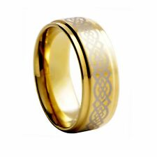 Tungsten Carbide Ring Gold Celtic Knot Design Step Edge Wedding Band 9mm G040