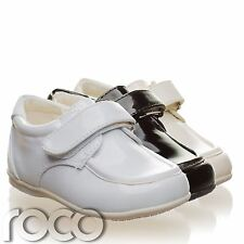 Childrens Baby Boys White Shoes Velcro Wedding Page Boy Christening Kids Shoes