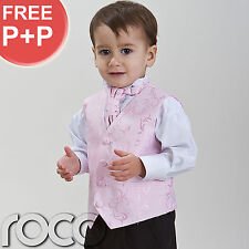 Baby Boys Pink Suit Wedding Pageboy Prom Waistcoat Suits Age 0-3m - 12 years
