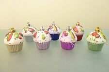 Pack of 3 -  6cm Glitter Cupcake Christmas Tree Decoration  (PM259)