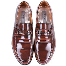 New Novamall Mens Leather Motion Dress Loafers Slip On Brown Shoes