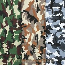 Army Camo Camouflage Green Brown Gray Woodland Print Cotton Blend Sewing Fabric