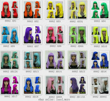 20 Different colors Long Straight Straight Bang COSPLAY Party Wig with hairnet