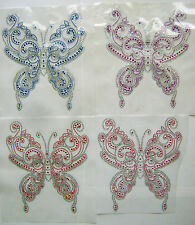 BUTTERFLY RHINESTONE IRON ON APPLIQUE / HOT FIX TRANSFER