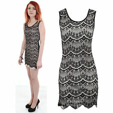 Ladies Black Beaded Diamante Lace Front Nude Lining Party Evening Women's Dress