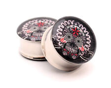 Pair of Gray Sugar Skull Picture Plugs gauges Choose Size new