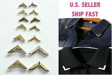 Gold Blouse Shirt Hollow Metallic Metal Pointed Neck Collar Clips Wing Tips