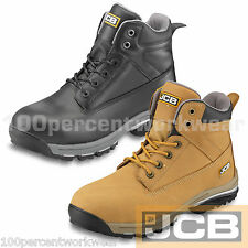 JCB WORKMAX Work Mens Safety Chukka Boots Shoes Hiking BLACK Leather Steel Toe