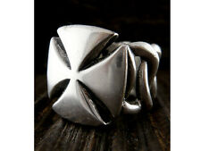 "Nice Detailed Men's Stainless Steel Rings Cut Out Raised Patee ""Iron"" Cross"