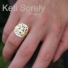 Hand Made Monogram Ring - Order Your Initials -Sterling Silver with 24K Gold
