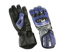 Black / Blue Leather Sport Riding Gloves w Armored Knuckles - Mens