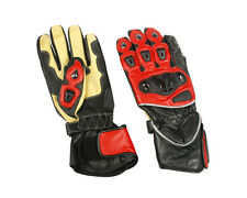 Leather Sport Riding Gloves Black / Red / Yellow w Armored Knuckles - Mens