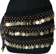 BELLY DANCING HIP SCARF GYPSE COIN WRAP SKIRT *BLACK***FREE POSTAGE*** DANCE EHS