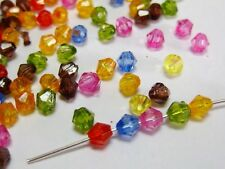 1000 Transparent Faceted Acrylic Bicone Beads 4mm Spacer Finding Pick your color