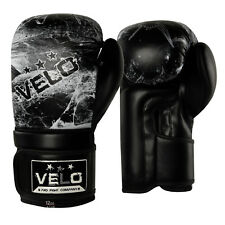 VELO Leather Boxing Gloves Gel Fight Punch Bag MMA Muay Thai Grappling Kick  Wht