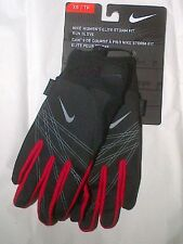 Nike Womens Elite Storm Fit Run Gloves Black & Red Size NWT MSRP $30