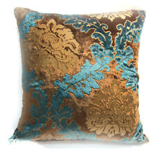 Wa04a Teal Blue Gold Brown Paisley Velvet Style Cushion Cover/Pillow Case Custom
