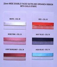 Satin Organza ribbon with centre gold stripe Luxury item 2 metres 22mm wide