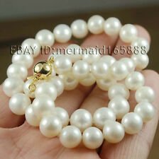 "9-10mm White Akoya Cultured Pearl Necklace 17"", 18"", 19"", 20"", 21"", 22"""