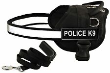"""Dean & Tyler """"DT Works + Padded Puppy"""" Nylon Dog Harness with Patches + Leash"""