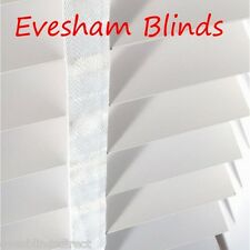 MADE TO MEASURE 50MM PURE WHITE WOODEN VENETIAN BLIND WITH TAPES REAL WOOD
