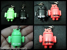 SET OF 2 ANDROID ROBOTS COLLECTABLE MOBILE PHONE HANDBAG CHARM KEYRING UK SELLER