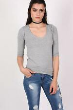 Violet Scoop Neck 3/4 Sleeve Top in Light Grey