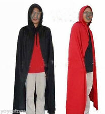 1 Black Red Hooded Cloak Cape Hat For Halloween Costume Party Men Clothes Dress