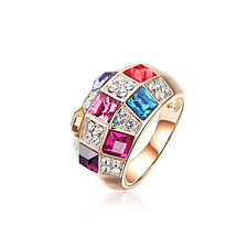 18K Rose Gold Plated Colourful Diamonds Ring stud with Swarovski Crystals R387
