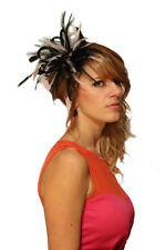 Black & Baby Pink Fascinator Wedding Hat Choose any colour satin & feathers