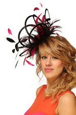 NEW Black & Hot Pink Fascinator Hat Choose any colour satin & feathers wedding