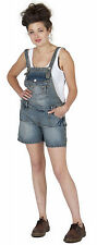 Womens Bib Overall Shorts - Pale Blue Ladies Denim