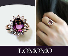 Adjustable 18K RoseGold GP1.5ct Swarovski Amethyst Cocktail Cluster Ring R337