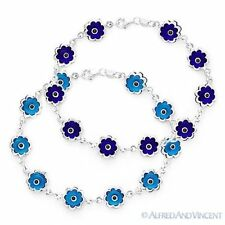 Evil Eye Turkish Nazar Greek Hamsa Kabbalah Charm .925 Sterling Silver Bracelet