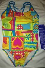 SPEEDO Racer Back Turquoise Blue Pink Yellow 1 pc Swim Suit NEW Girls Sz 14