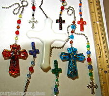 assorted Christian Cross fan light pull rearview mirror charms Stained glass