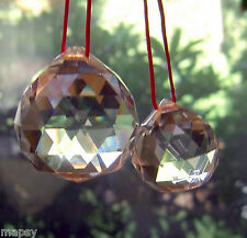 3 - 20mm or 3 - 30mm Faceted Hanging Crystal Prism Ball Sphere Clear Feng Shui