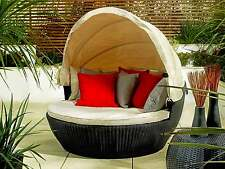 RATTAN GARDEN FURNITURE DAY BED CANOPY SOFA OUTDOOR PATIO CONSERVATORY CUSHIONS