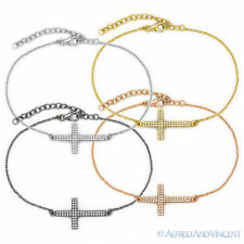 Sideways Cross Christian Charm Micro Pave Bracelet / Anklet .925 Sterling Silver