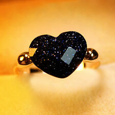 Dream Starry Sky Swarovski Crystal Heart Cocktail Ring18K Rose Gold Plated 424